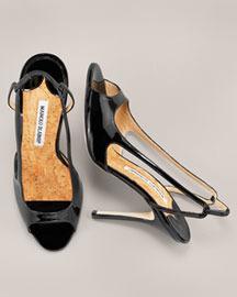 Manolo Blahnik Patent Peep-Toe Slingback